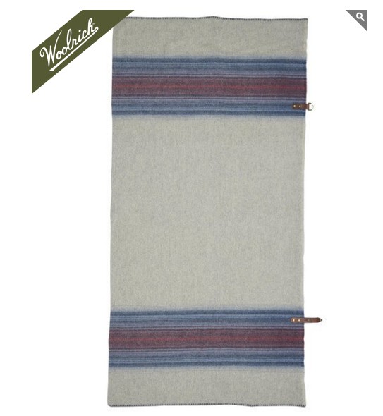 Fireside Wool Blanket Poncho, Denim Stripe