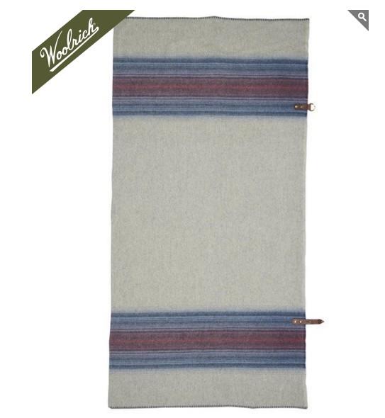 Woolrich Fireside Wool Blanket Poncho, Denim Stripe