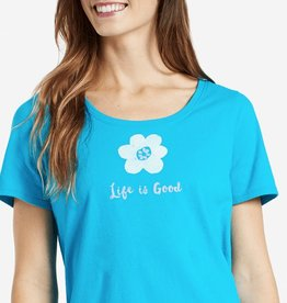 Life is Good W The Snuggle Up Flower, Cool Turquoise