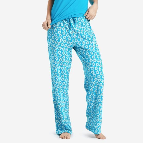 Life is Good W Flower's Jersey Sleep Pants, Cool Turquoise