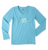 Life is Good W Crusher Ve L/S Happy Hour Tiny Hearts, Cool Turquoise