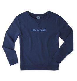 Life is Good W Go-To Crew LIG Bold, Darkest Blue