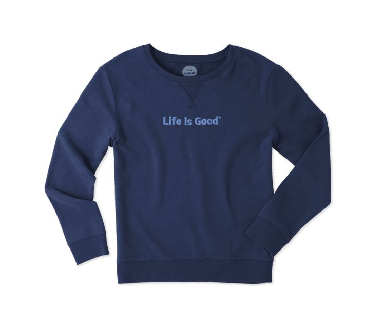 Life is Good W Go-To Crew LIG Bold, Darkest Blue