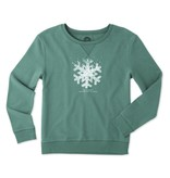 Life is Good W Go-To Crew Snowflake Hearts, Fresh Green