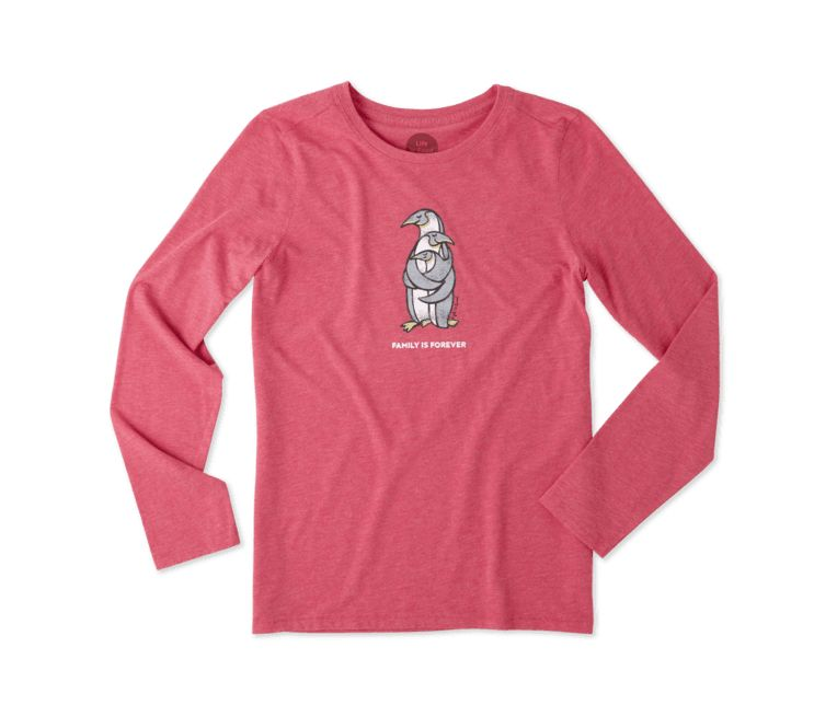 Life is Good W L/S Cool Tee Penguin Family, Pop Pink