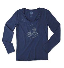 Life is Good W L/S Smooth Tee Bike Heart Basket Darkest Blue