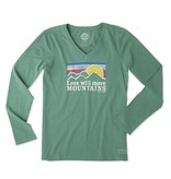 Life is Good W Crusher Vee L/S Love moves Mountains, Forest Green