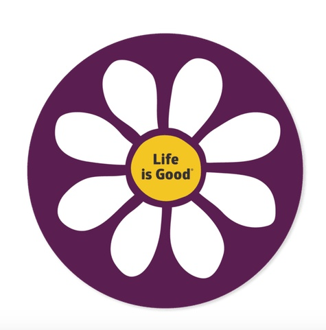 "Life is Good U 4"" Circle Daisy Sticker Deep Plum"