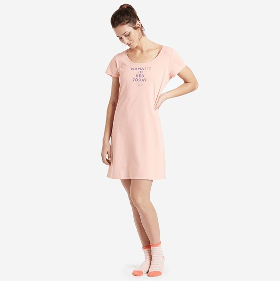 Life is Good W Sleep Tee Dress Mamaste, Chalky Peach