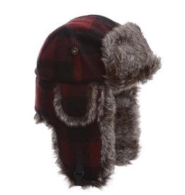 Maroon Wool Bomber Hat w/Brown Faux Fur