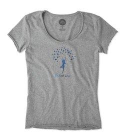 Life is Good W Smooth Tee Radiate Love Tree, Heather Gray