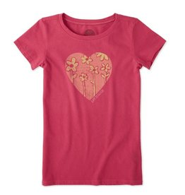 Life is Good G S/S Girls Tee Heart Flowers, Pop Pink