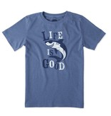 Life is Good B S/S Boys Tee Shark LIG , Heather Vintage Blue