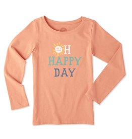 Life is Good G L/S Girls Tee Oh Happy Day, Fresh Coral