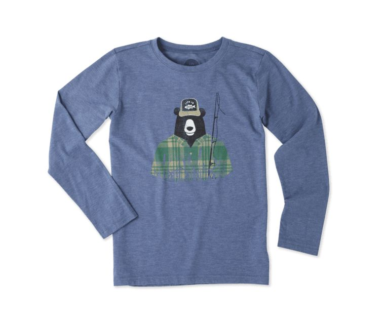 Life is Good B L/S Boys Cool T Fisherbear, Vintage Blue