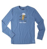 Life is Good M Crusher L/S Beer Run, Heather Vintage Blue