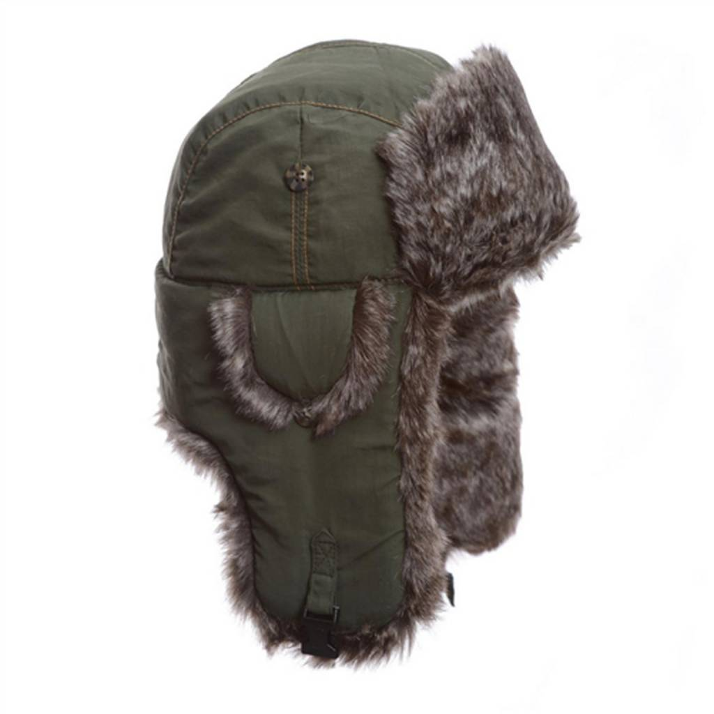Mad Bomber Olive Supplex Bomber Hat with Faux Fur