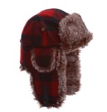 Wool Bomber Hat with Faux Fur, Red/Black