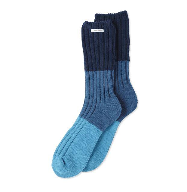 Life is Good W Chenille Socks Tricolor, Sea Blue