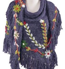 Embroidery Flower Shawl with Fringes, assorted colors