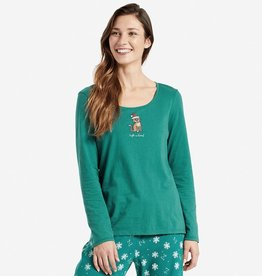 Life is Good W L/S  Santa Cat, Forest Green