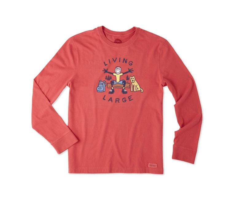 Life is Good M Crusher L/S Live Large Outdoors, Americana Red