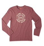 Life is Good M L/S Cool Tee Work Hands, Cranberry Red