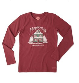 Life is Good W Crusher L/S Happiness Is Home, Cranberry Red