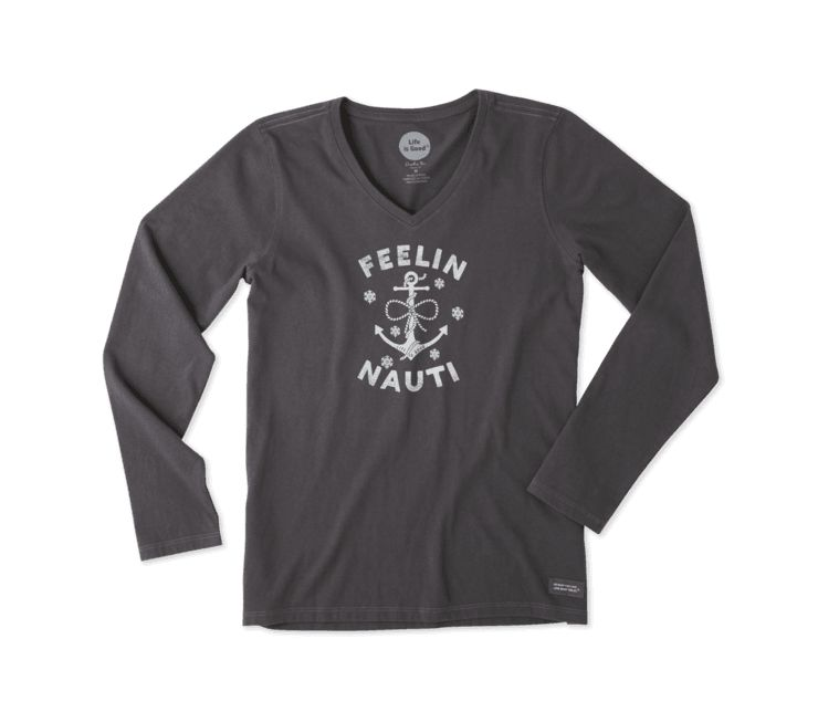 Life is Good W Crusher Vee L/S Feelin' Nauti Anchor, Night Black