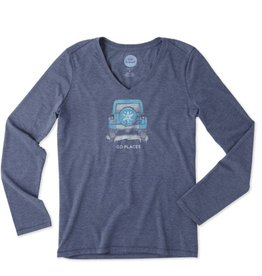 Life is Good W L/S Cool Vee Go Places Winter, Darkest Blue
