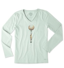 Life is Good W Crusher Vee L/S Flower Balloon Be, Mint Green