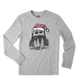 Life is Good M Crusher L/S Holiday Beard, Heather Gray
