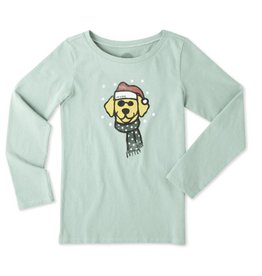 Life is Good G L/S Tee Holiday Dog, Mint Green
