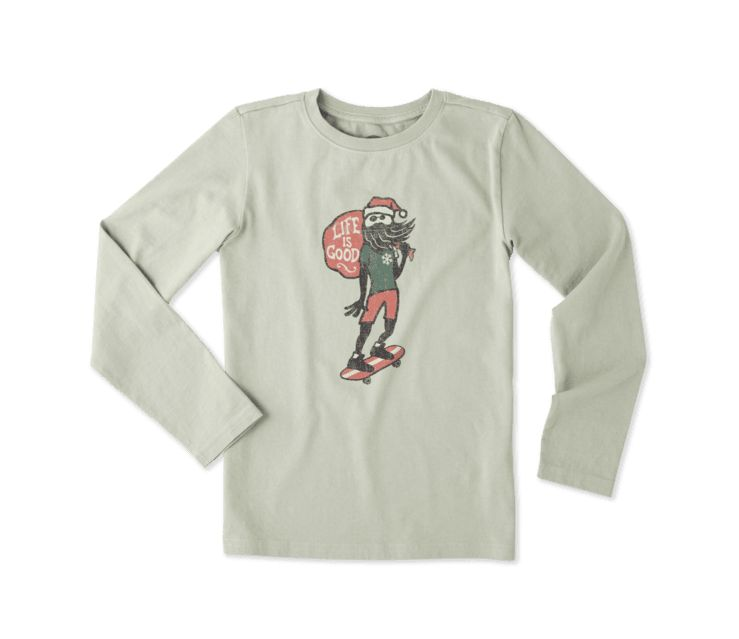 Life is Good B L/S Tee Holiday Skater, Dusty Green
