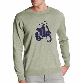 Loft 604 Men's Vespa Print Graphic Cashmere Blend Sweater