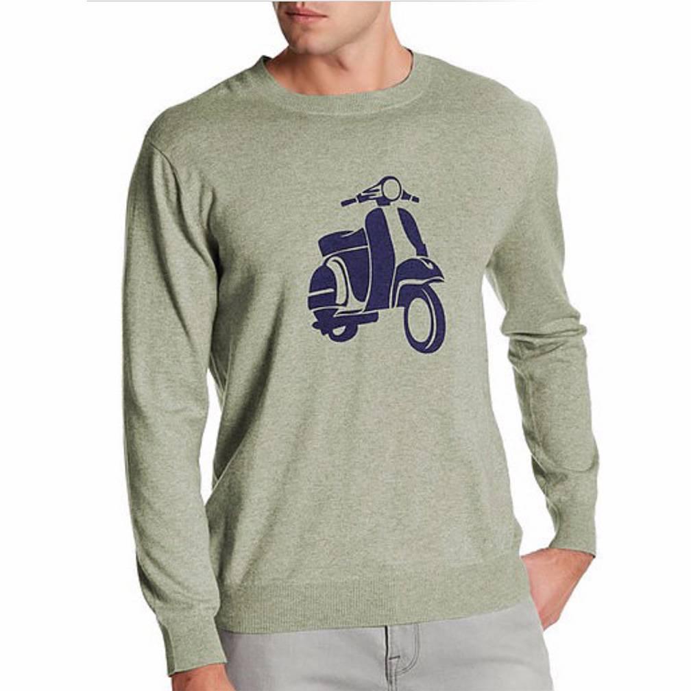Loft 604 Men's Vespa Print Graphic Cashmere Blend Sweater