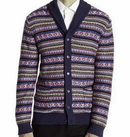 Loft 604 Men's Reverse Fair Isle Cardigan, Navy