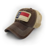 S.L. Revival Co. NC Flag Patch Trucker Hat, Brown