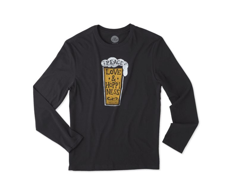 Life is Good M L/S Smooth Tee Peace, Love and Hoppiness, Night Black