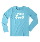 Life is Good W Crusher L/S Dog Silo, Cool Turquoise