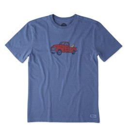 Life is Good M Crusher Tee Classic Truck, Heather Vintage Blue