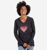 Life is Good W Hooded Smooth Heart Love, Night Black