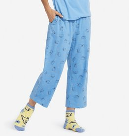 Life is Good W Cropped Sleep Pant Dog, Cat Toss, Powder Blue