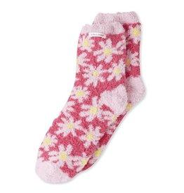 Life is Good W Snuggly Daisy Pattern Socks, Fiesta Pink