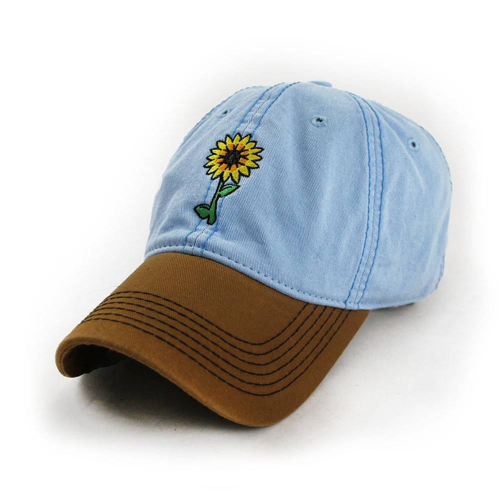 S.L. Revival Co. Sunflowers Make Me Smile Mom's Hat, Sky Blue