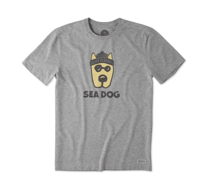 Life is Good M ROCKET SEA DOG CRUSHER TEE, Heather Gray