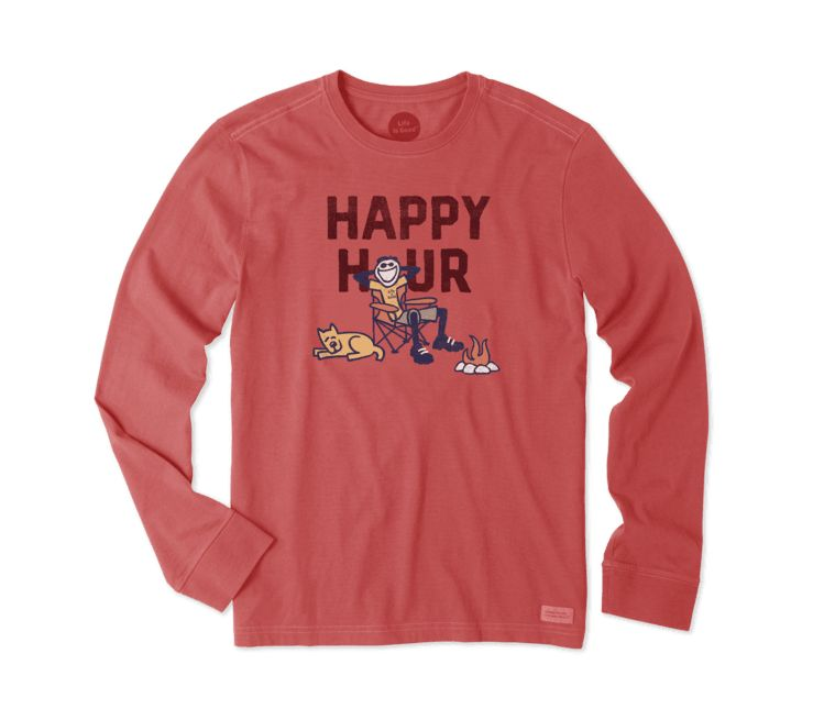 Life is Good M HAPPY HOUR CAMP L/S CRUSHER TEE, Americana Red