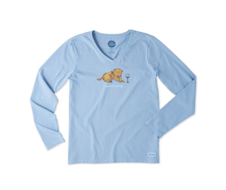 Life is Good W PERFECT PAIRING LONG SLEEVE CRUSHER VEE, Powder Blue
