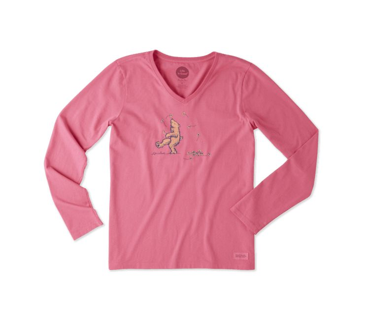 Life is Good W DANCING BEAR LONG SLEEVE CRUSHER VEE, Fiesta Pink