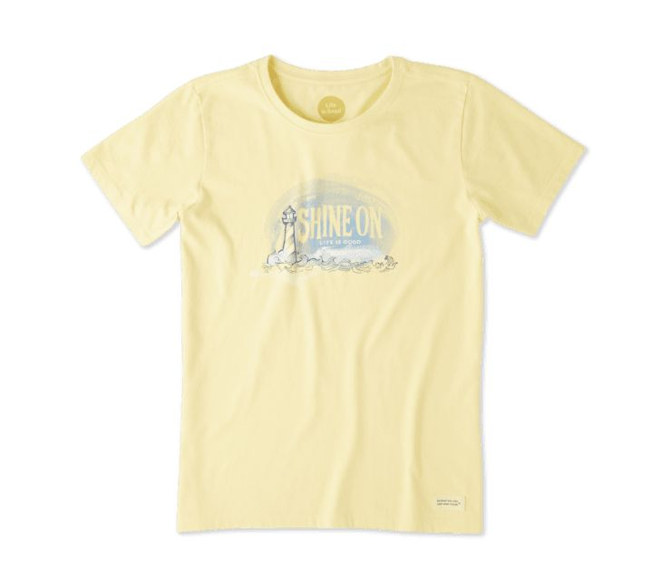 Life is Good W SHINE ON LIGHT HOUSE CRUSHER TEE, Happy Yellow